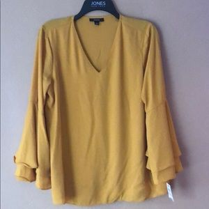 Alifani mustard gold sheer with poet sleeves SZ 6